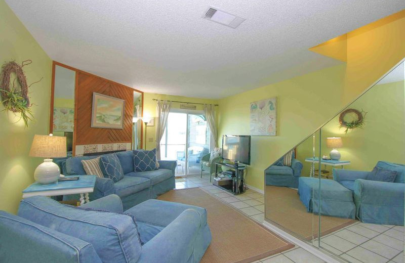Rental living room at Vacation Rentals Folly Beach.