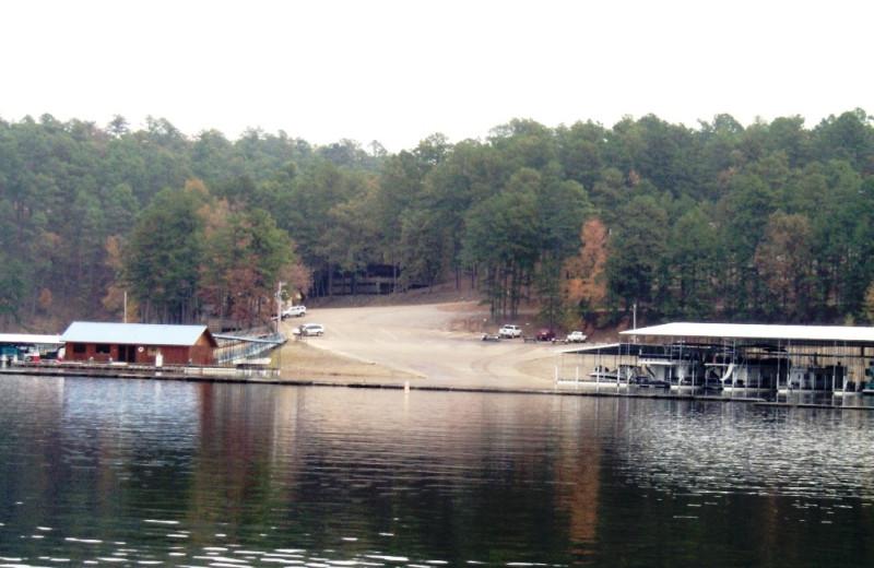 Lake Greeson landing near Diamonds Old West Cabins.