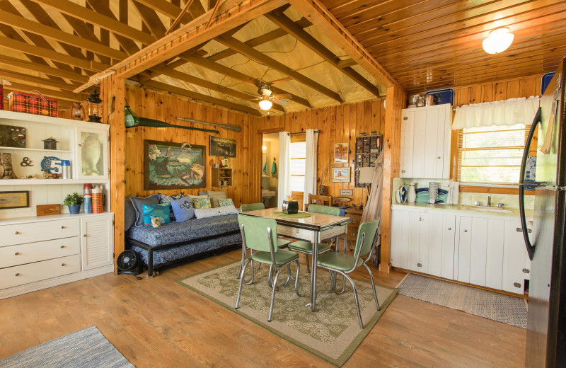 Cabin interior at Sybil Shores Resort.