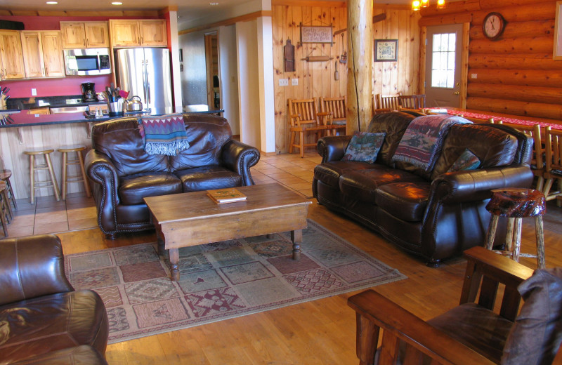 Cabin living room at Natapoc Lodging.
