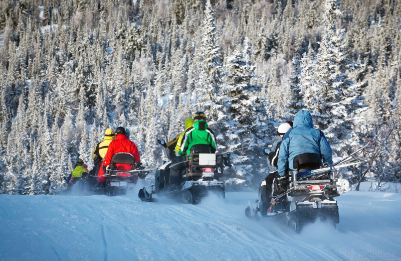 Snowmobiling at Stowe Mountain Lodge.