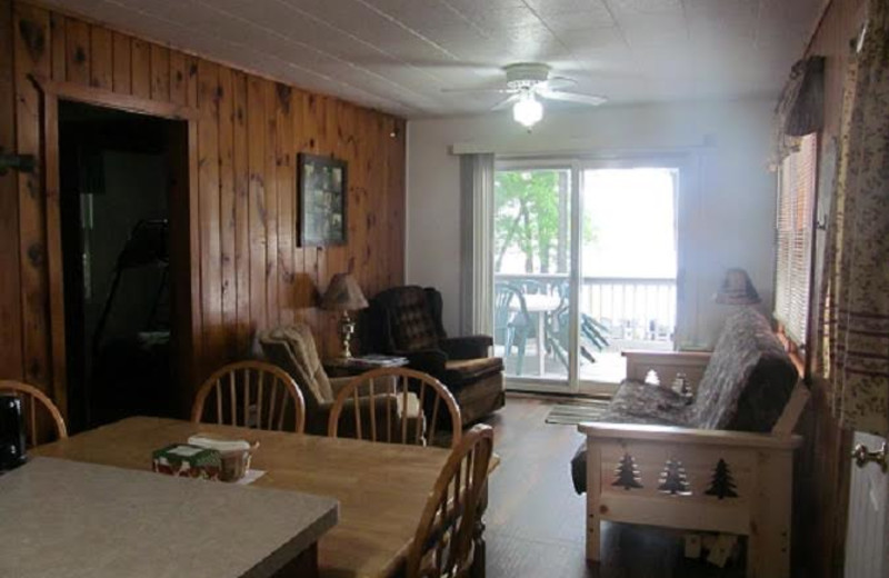 Cabin living room at SweetWater Resort.