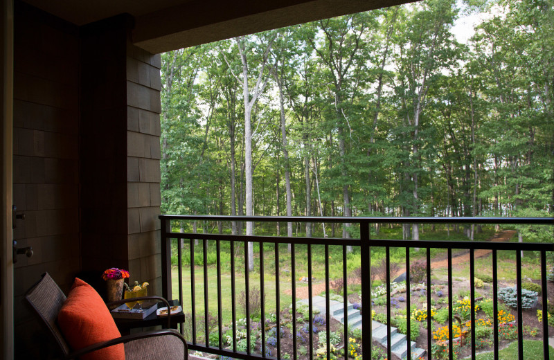 Guest balcony at The Lodge at Woodloch.