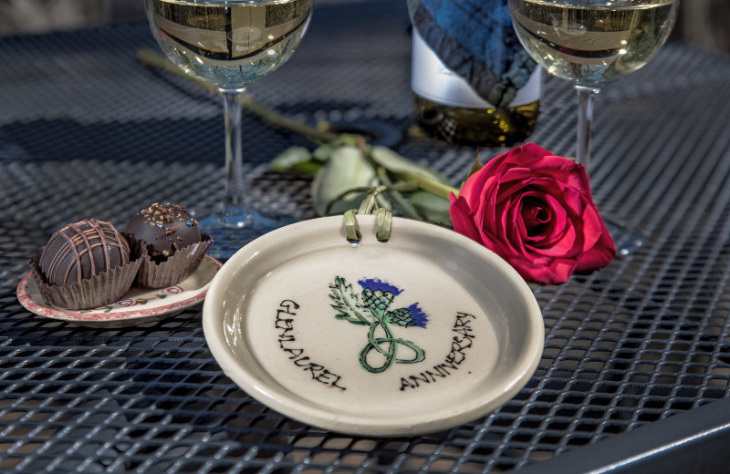 Handmade keepsake anniversary plate...celebrating at Glenlaurel, A Scottish Inn & Cottages.