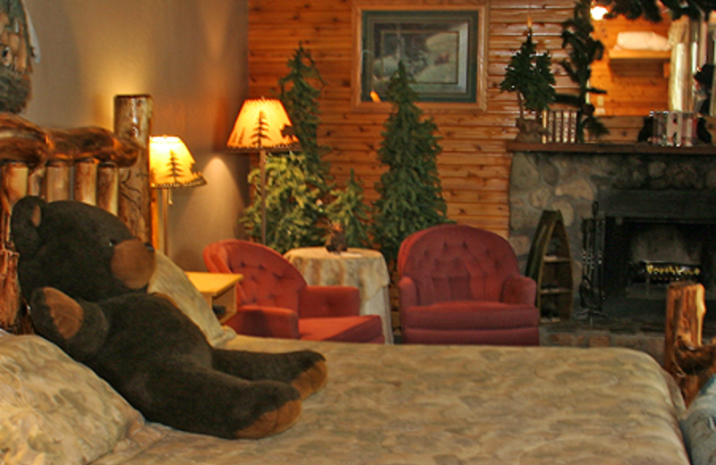 Guest room at Crandell Mountain Lodge.