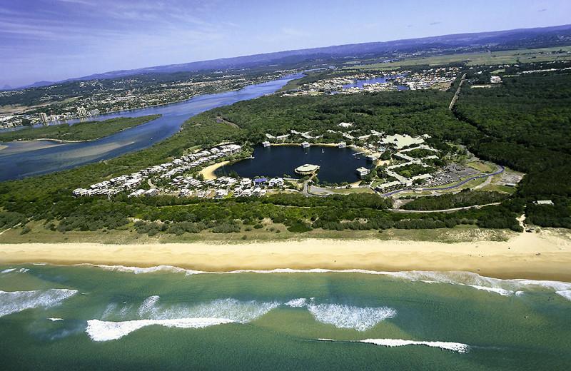 Aerial view of Novotel Twin Waters Resort.