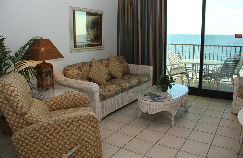 Guest living room at Phoenix All Suites Hotel.
