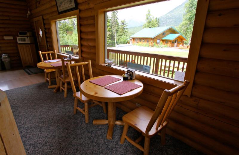 Dining area Mt. Cecil Cabin, Alaska Heavenly Lodge.