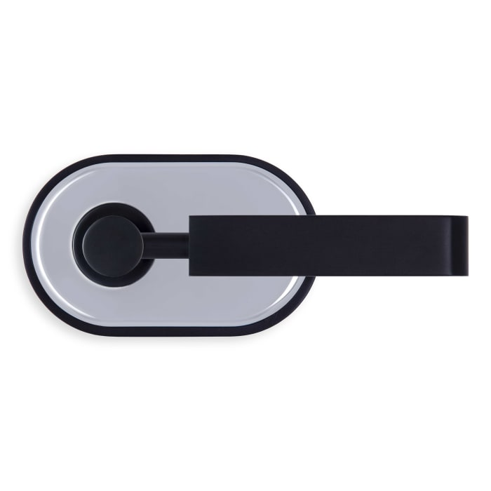River Oaks Door Lever Black and Chrome