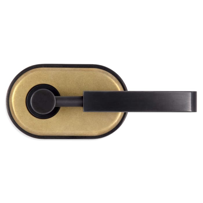 River Oaks Door Lever Antique Polished Brass and Textured Oil Rubbed Bronze