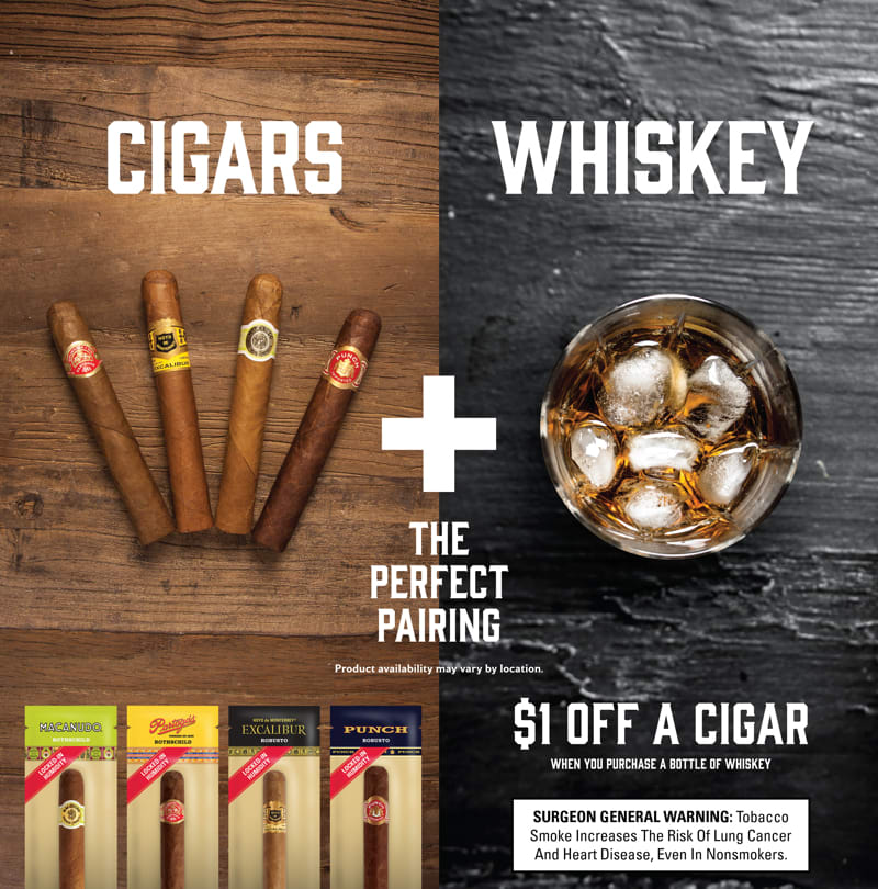 Cigar pairing in-store merchandising