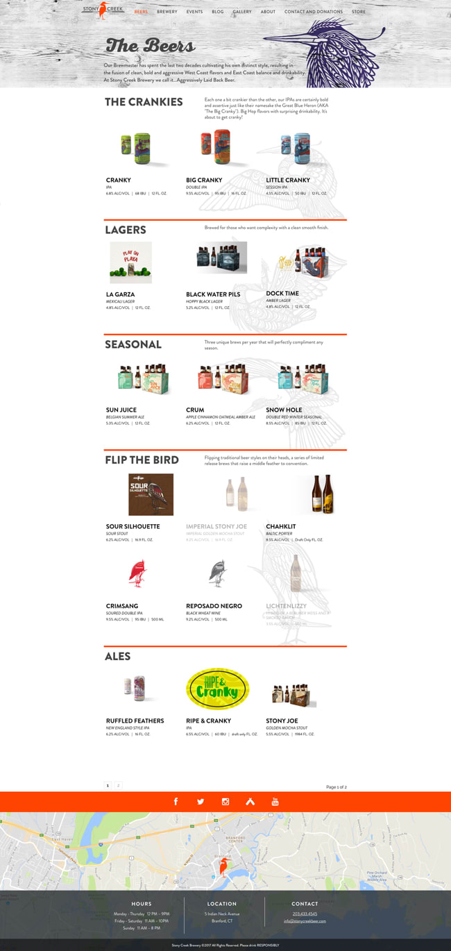 Stony Creek Brewery Website Interior Page
