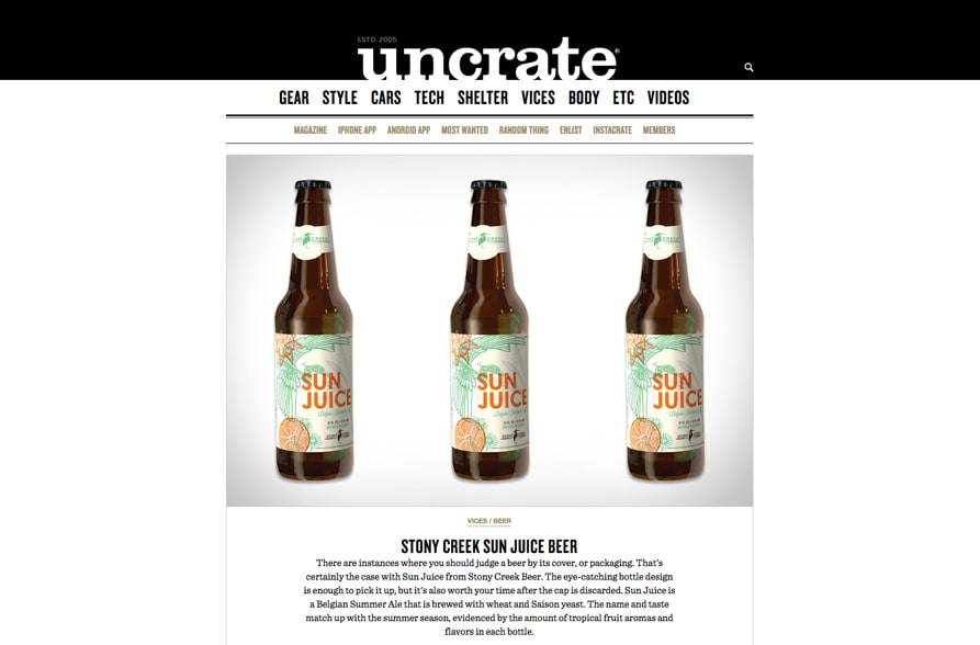 Uncrate Article on Sun Juice Beer
