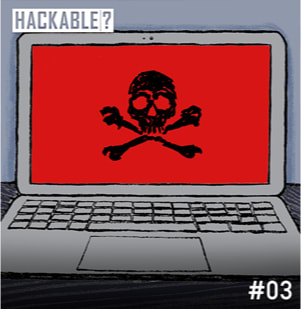 Laptop hacking illustration