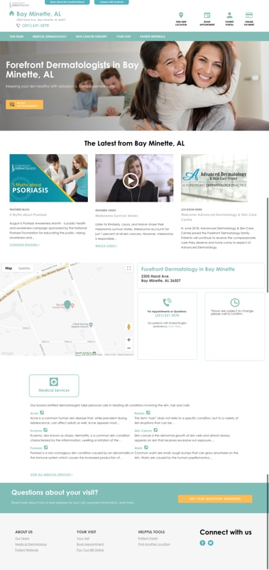Forefront Dermatology Location Page