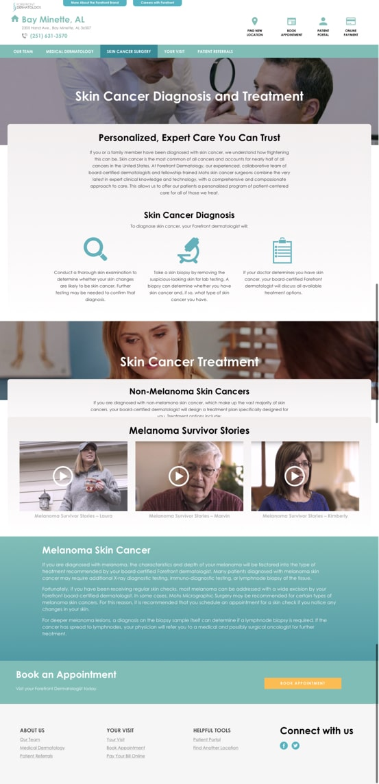 Forefront Dermatology Website