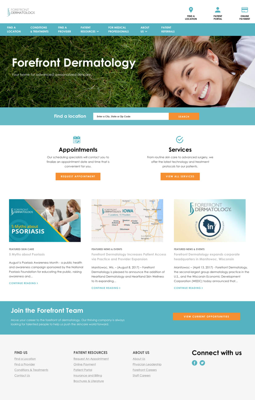 Forefront Dermatology Homepage