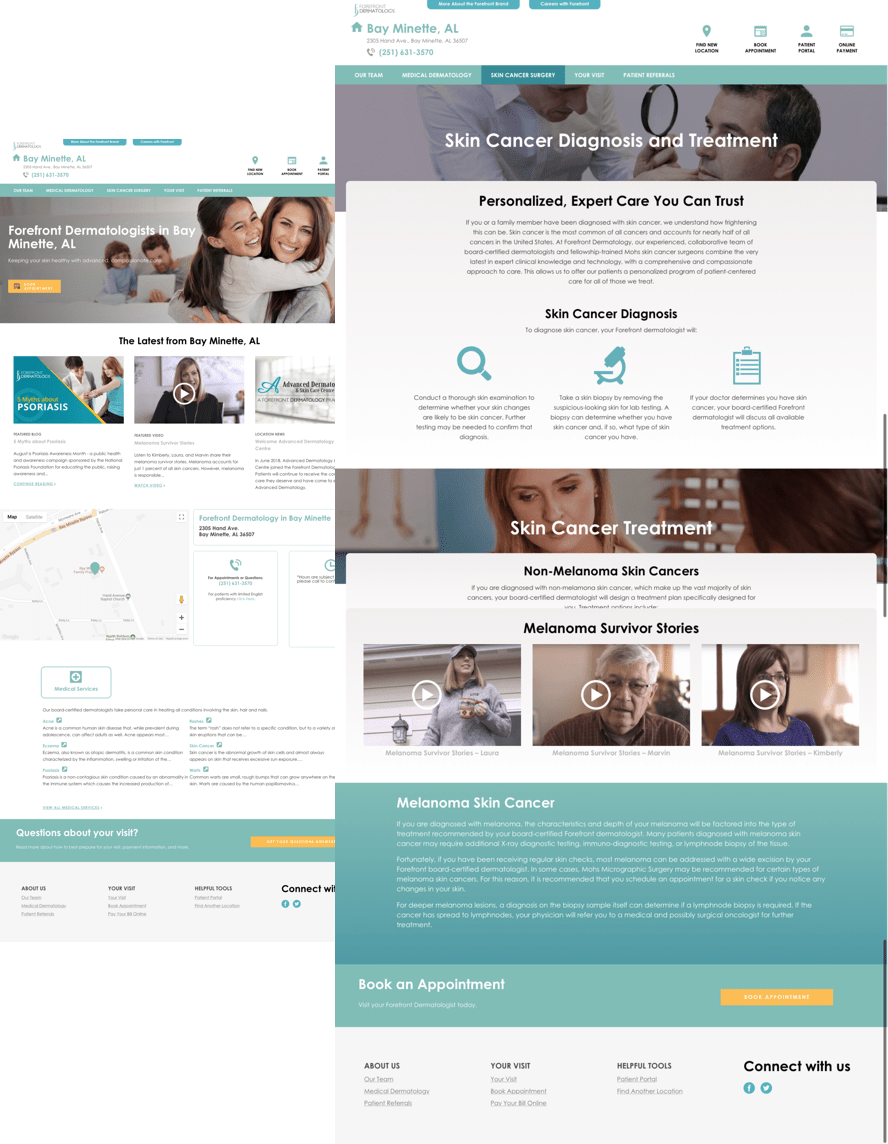 Forefront Dermatology Website, Forefront Dermatology Location Page