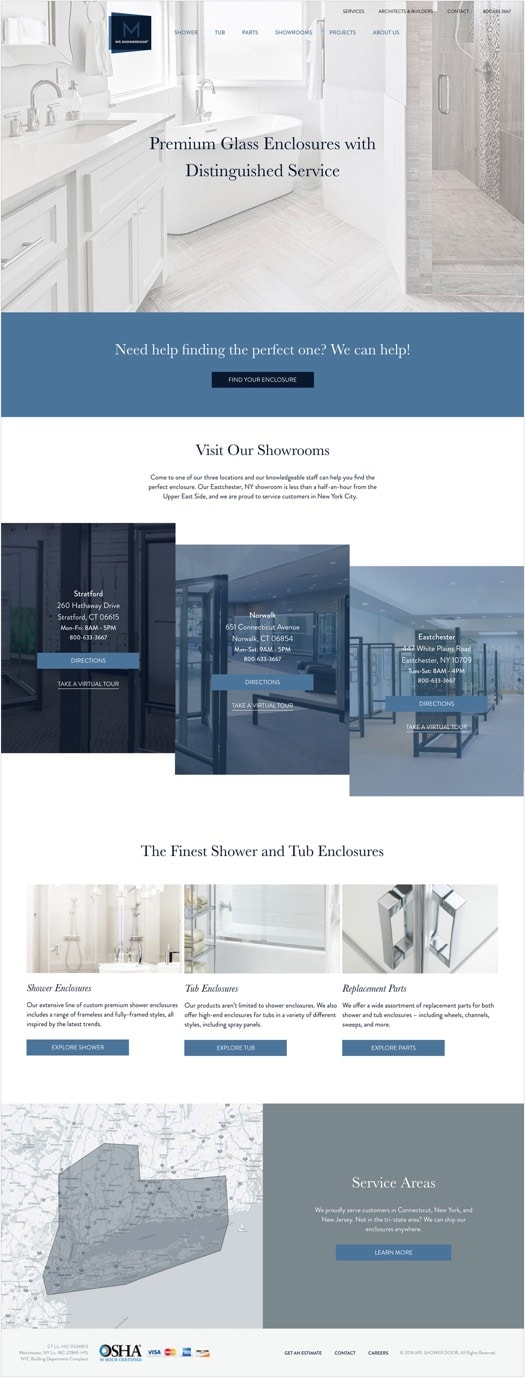 "Mr. ShowerDoor's redesigned homepage. Features photography of premium enclosures, their showrooms, and service areas.  Copy states ""Premium Glass Enclosures with Distinguished Service."""