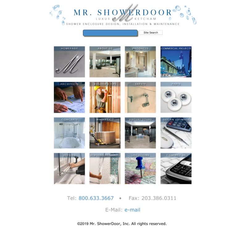 A look at the homepage of Mr. ShowerDoor's old site.