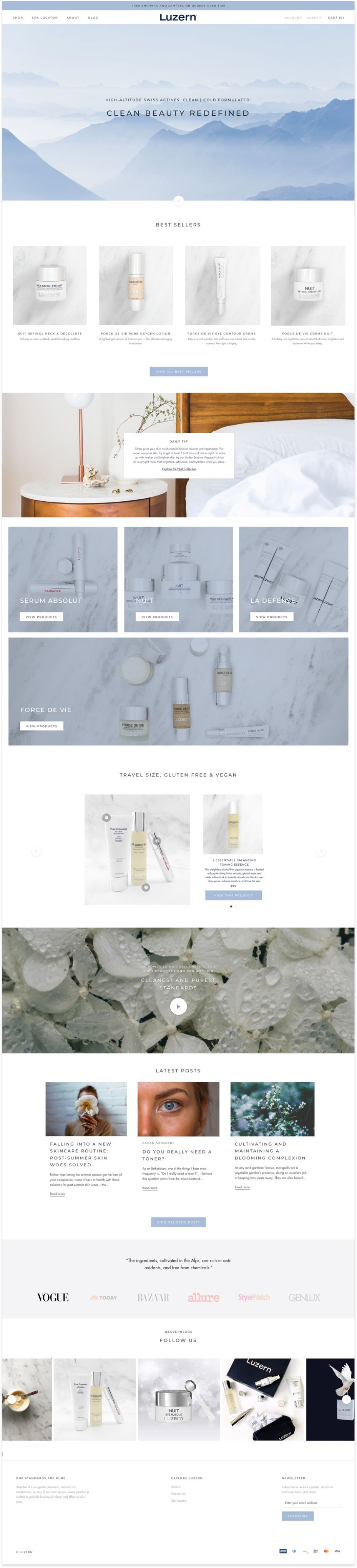 Luzern's redesigned homepage that features beautiful photography and clean design to give a luxury look and feel for their high-end skin care lines.