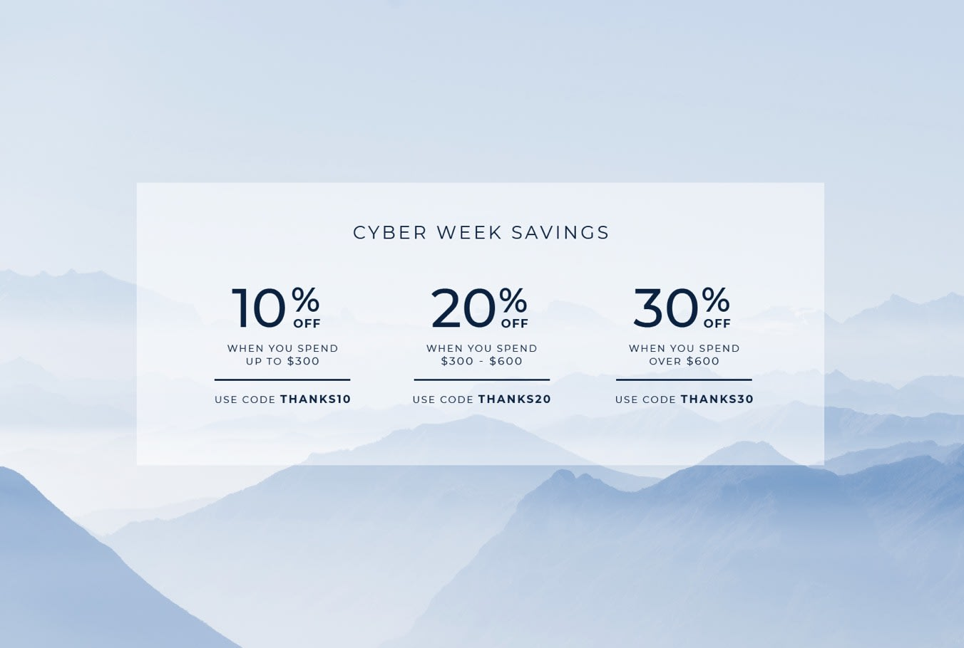Image of cyber week savings with promo codes tiered for the amount spent.