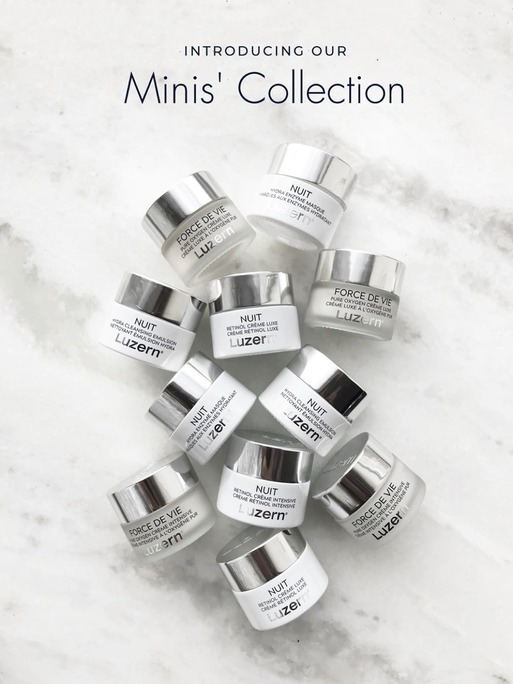 Luzern's new mini collection of best-selling skincare products in smaller, travel-size packaging.