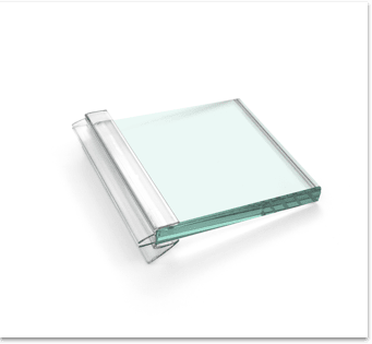 High-quality product shot of shower door glass.
