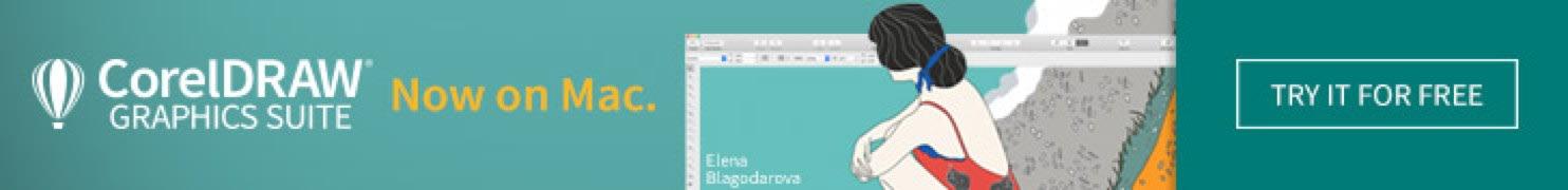 Digital banner advertising CorelDraw on Mac - shows girl kneeling at beach.