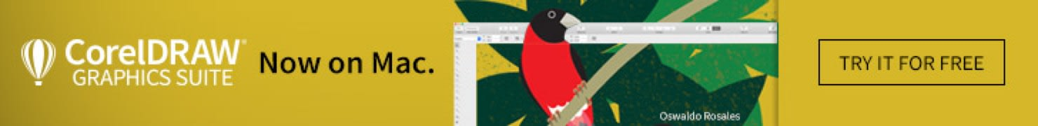Digital banner advertising CorelDraw on Mac - shows bird perched on a branch.
