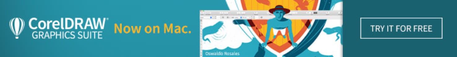 Digital banner advertising CorelDraw on Mac - shows man standing on a boat.