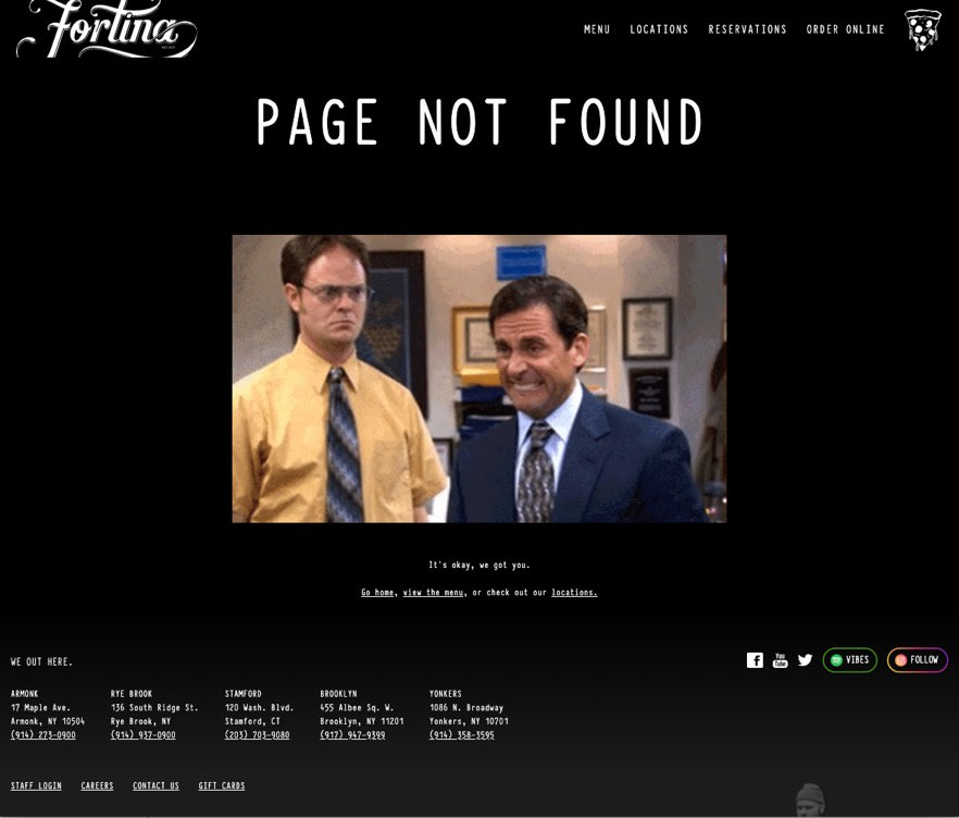 Screenshot of the 404 page.
