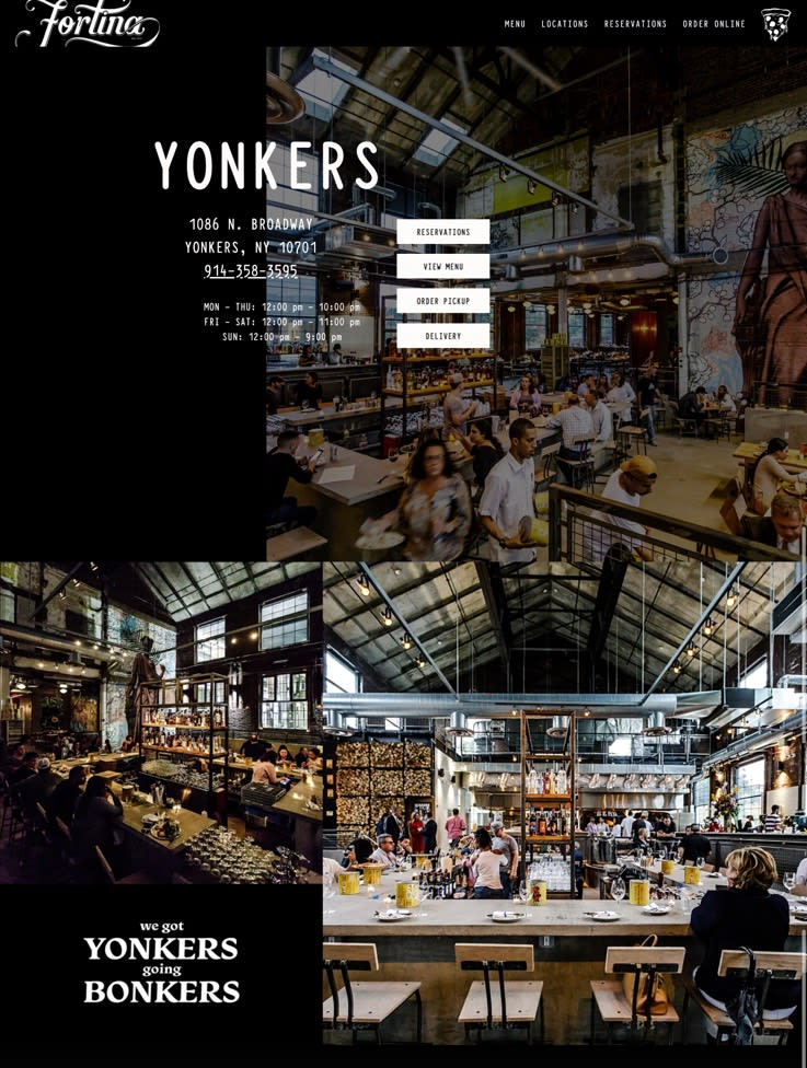 Screenshot of the Yonkers location page.