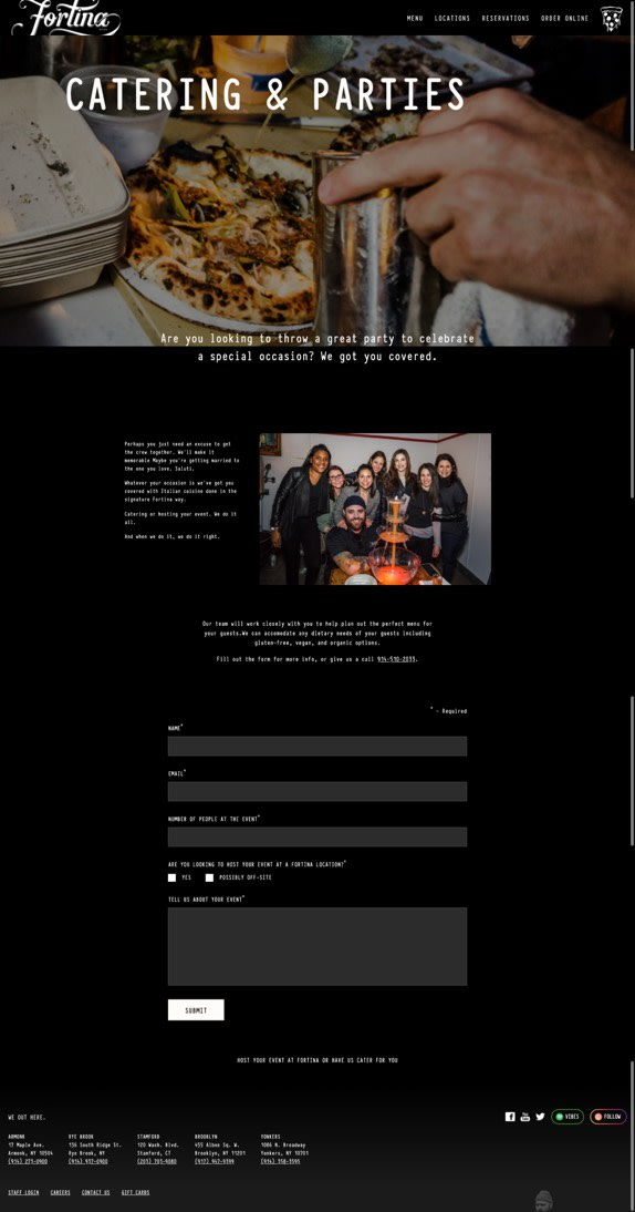 Screenshot of the Catering & Parties page.