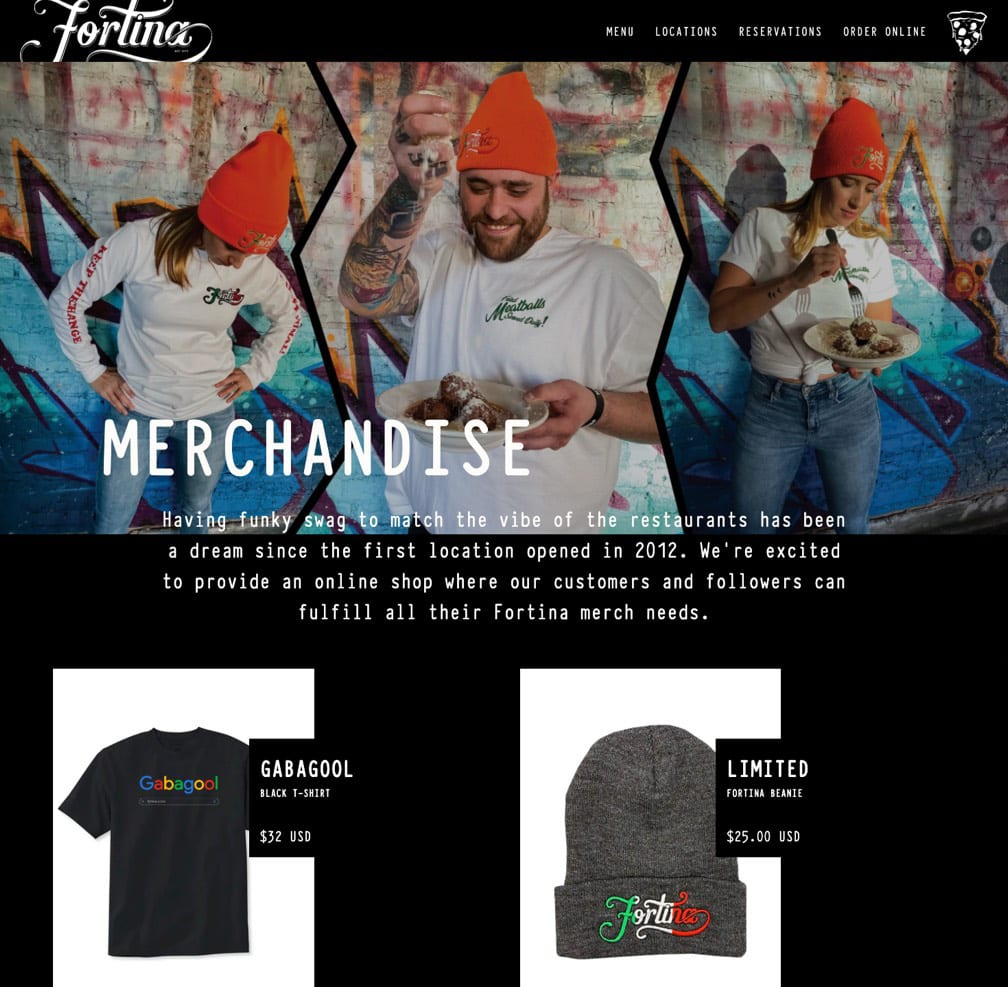 Screenshot of the merch page.