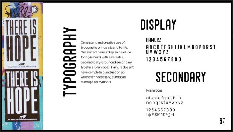 Brand type guideline slide.