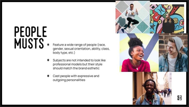 Brand team tone guideline slide.