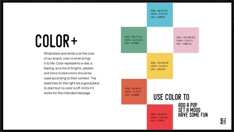 Brand color guideline slide.