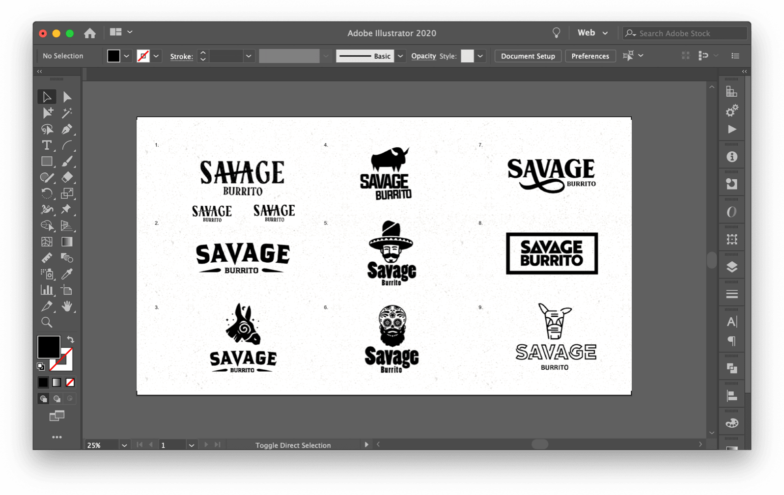 Working file of early logo iterations.