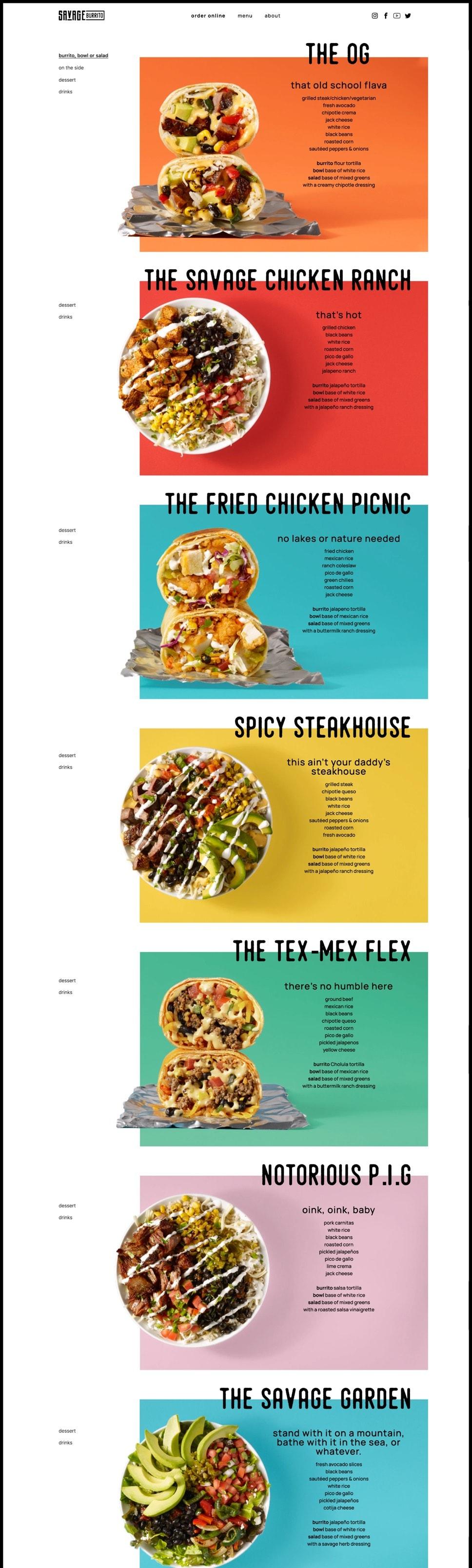 Savage Burrito menu page.