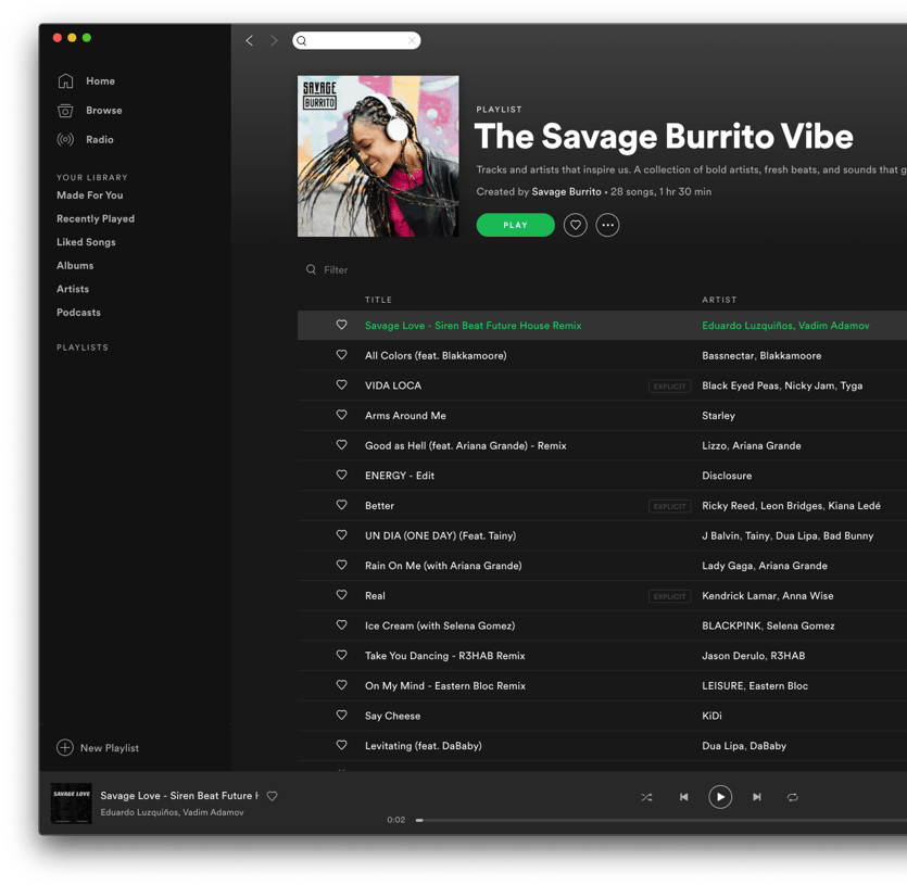 The Savage Burrito Vibe Spotify playlist.