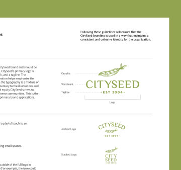 Cityseed logo and style guide close up.