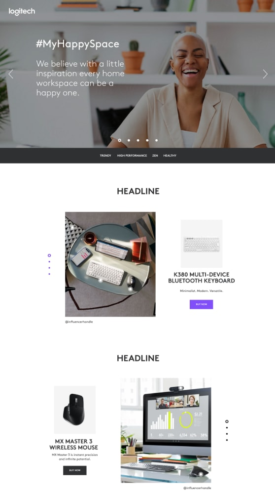 My Happy Space webpage wireframe