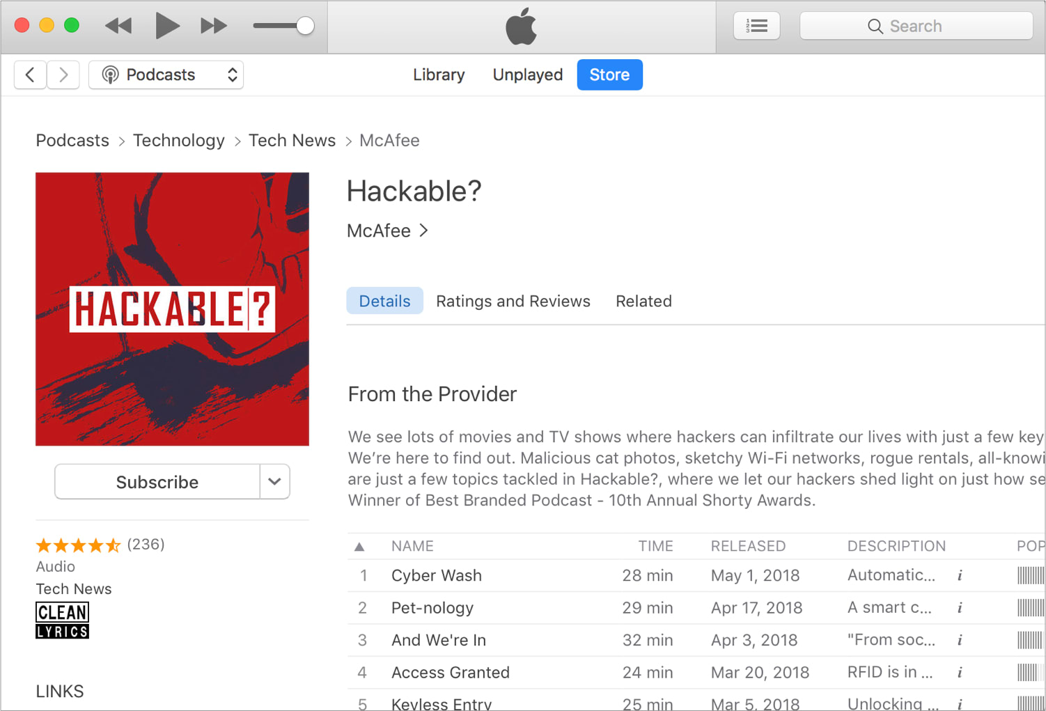 Hackable? on iTunes