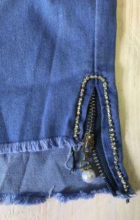Világoskék cipzáros farmernadrág szár   Rethy Fashion