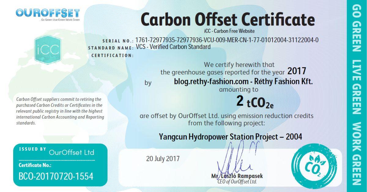 Vállalati felelősségvállalás - Carbon Offset | Réthy Fashion Kft.