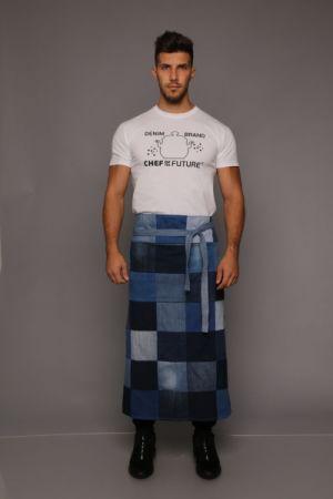 Kockás férfi farmer hosszú derék kötény - Rethy Fashion