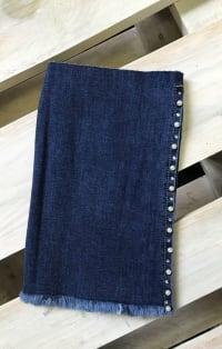 Gyöngyös sötétkék farmernadrág szár | Rethy Fashion