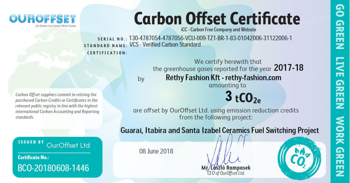 Vállalati felelősségvállalás - Carbon Offset   Réthy Fashion Kft.