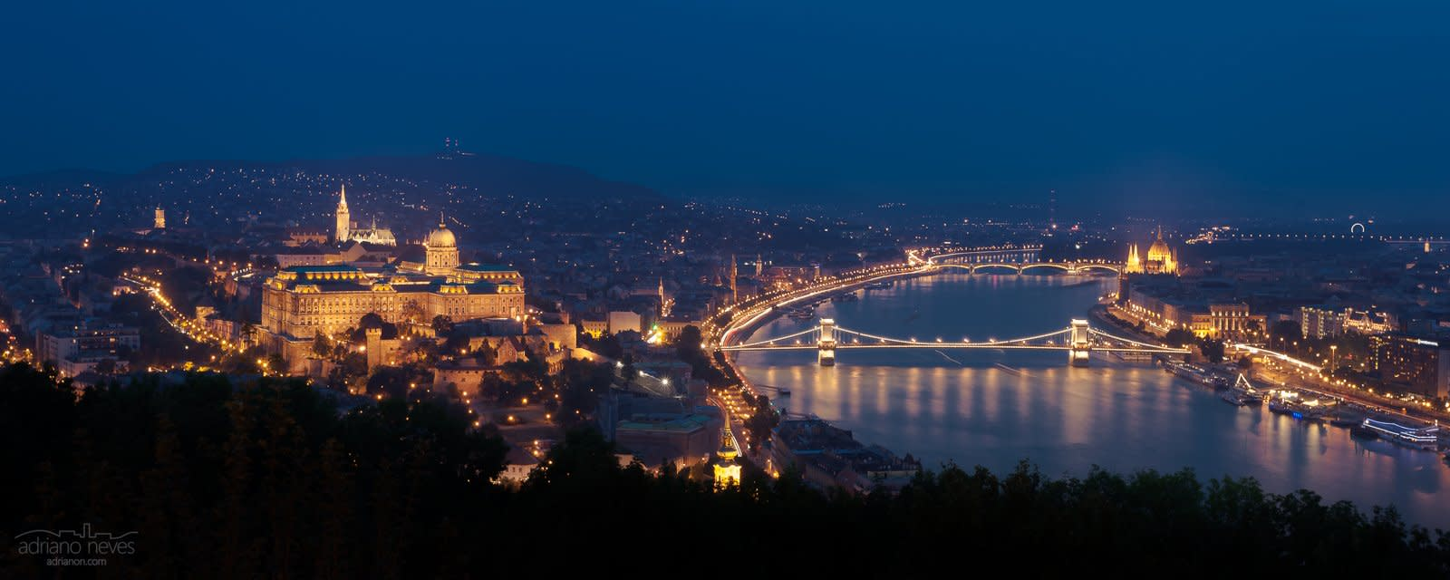Buda, the Danube & Pest by Dusk Panorama - Hungary, Budapest